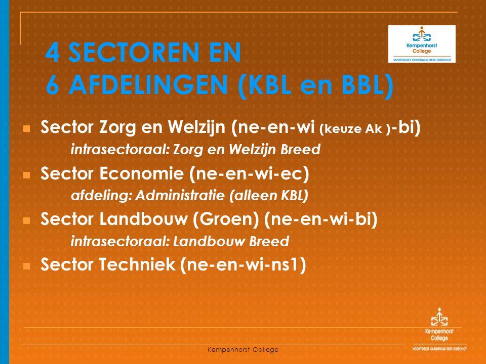 4 SECTOREN EN 6 AFDELINGEN (KBL en BBL)