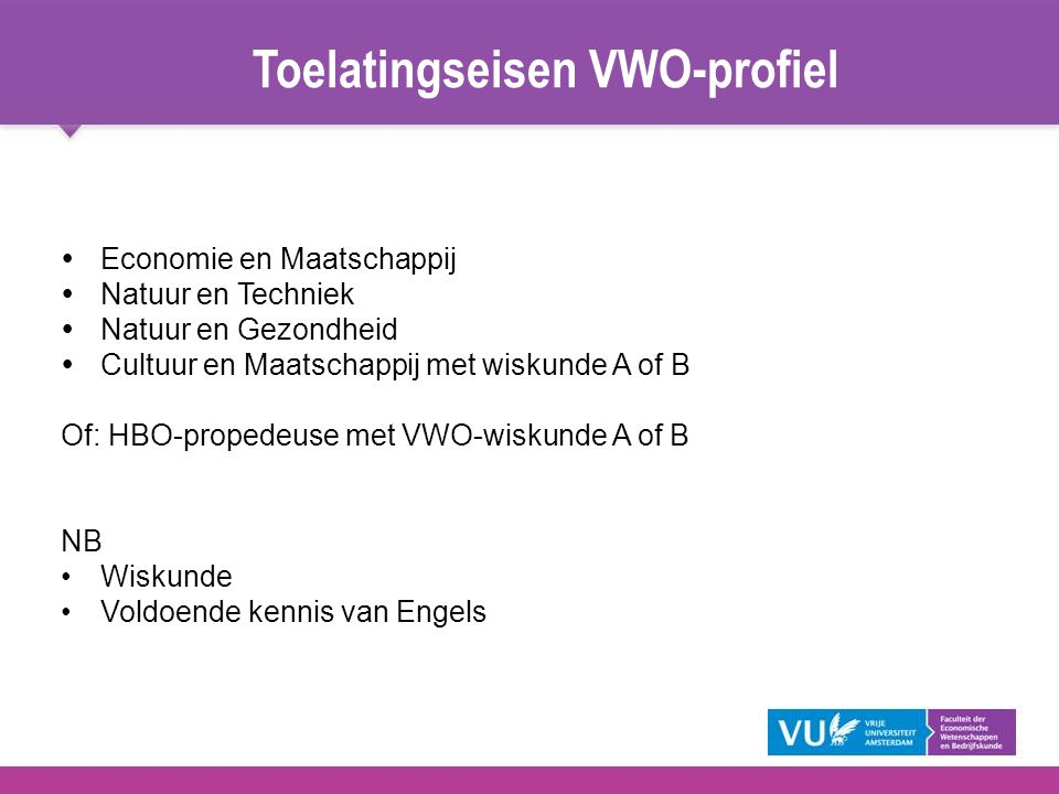 Toelatingseisen VWO-profiel