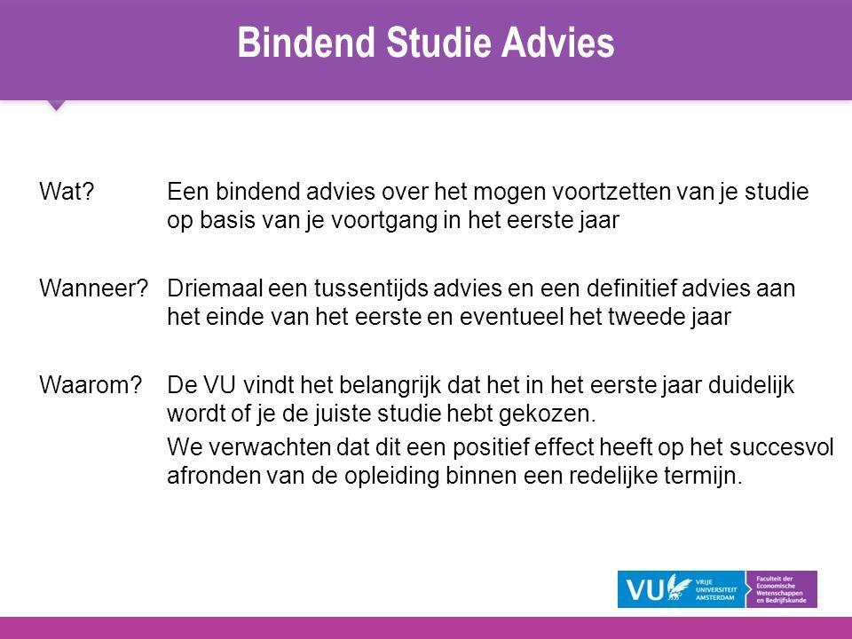 Bindend Studie Advies Wat Een bindend advies over het mogen voortzetten van je studie op basis van je voortgang in het eerste jaar.