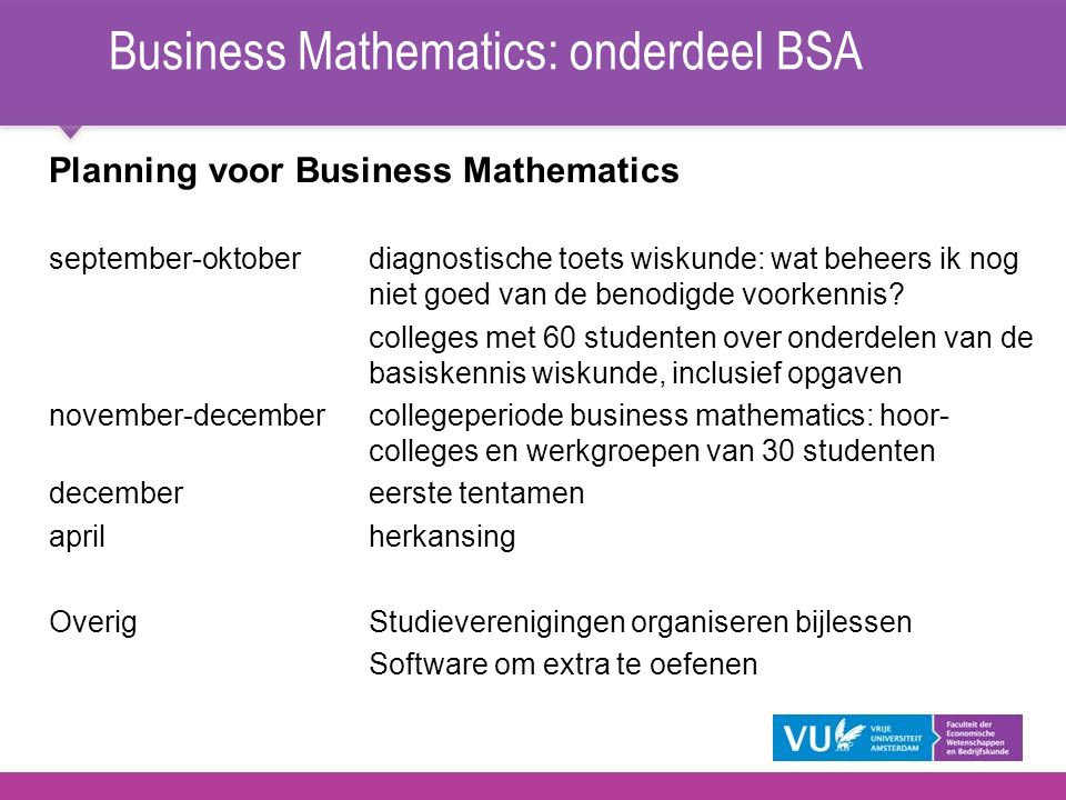 Business Mathematics: onderdeel BSA