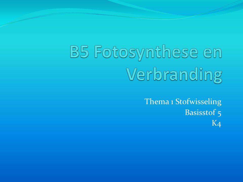 B5 Fotosynthese en Verbranding