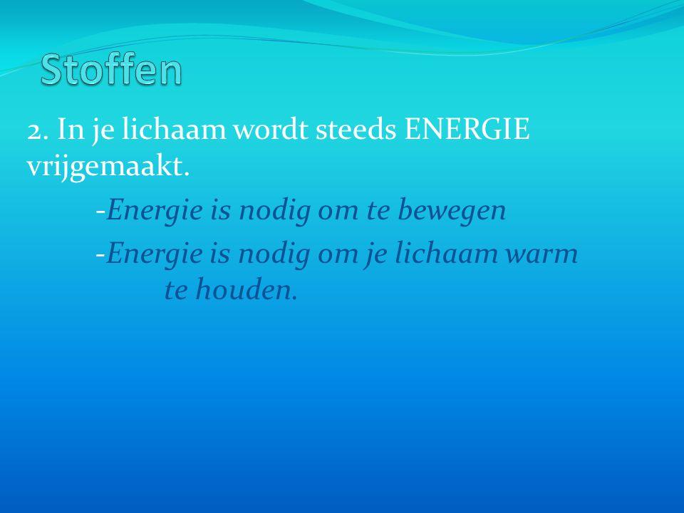 Stoffen 2. In je lichaam wordt steeds ENERGIE vrijgemaakt.