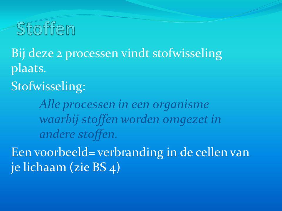 Stoffen Bij deze 2 processen vindt stofwisseling plaats.