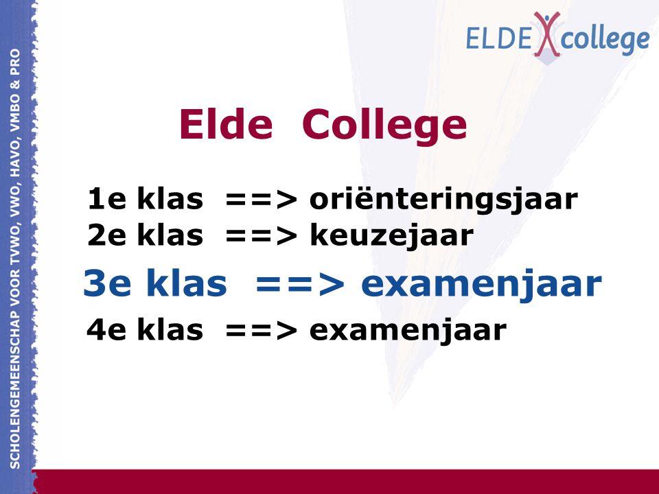 Elde College 1e klas ==> oriënteringsjaar 2e klas ==> keuzejaar