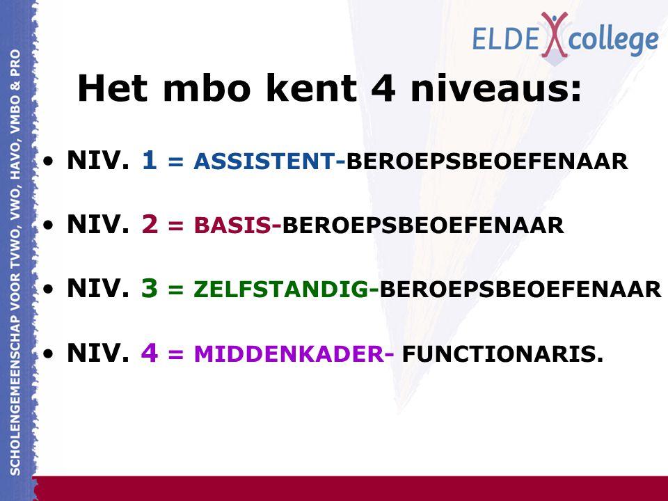 Het mbo kent 4 niveaus: NIV. 1 = ASSISTENT-BEROEPSBEOEFENAAR