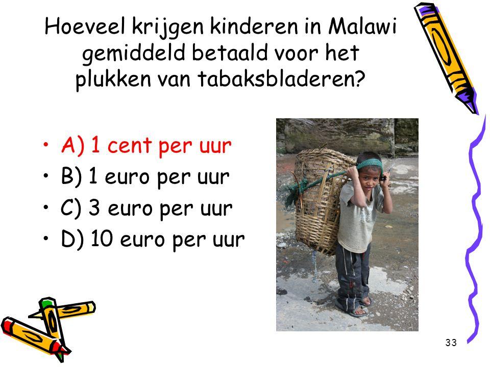 Hoeveel krijgen kinderen in Malawi gemiddeld betaald voor het plukken van tabaksbladeren