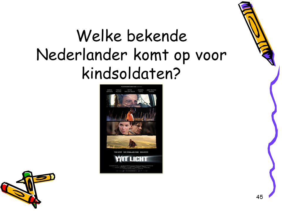 Welke bekende Nederlander komt op voor kindsoldaten