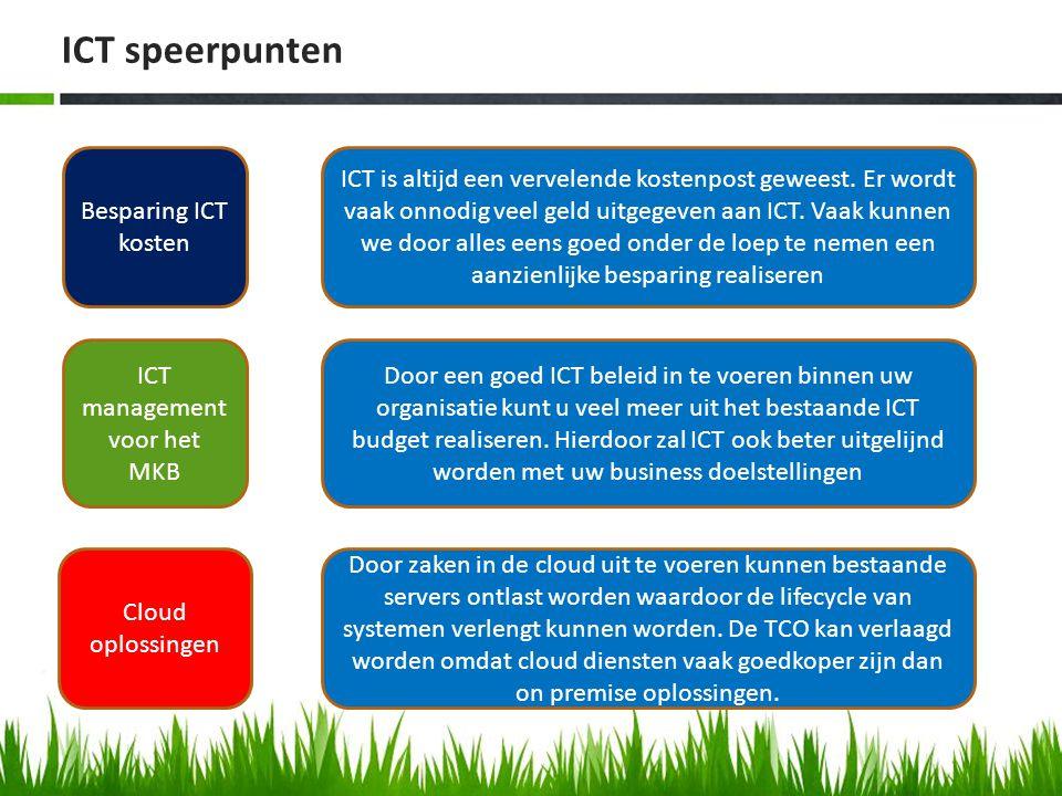 ICT speerpunten Besparing ICT kosten