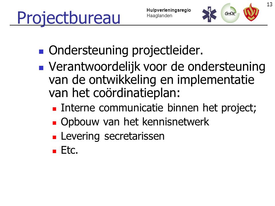 Projectbureau Ondersteuning projectleider.