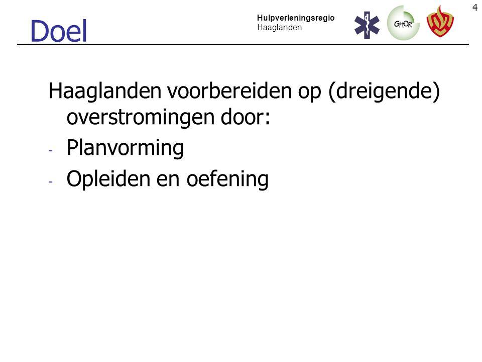 Doel Haaglanden voorbereiden op (dreigende) overstromingen door: