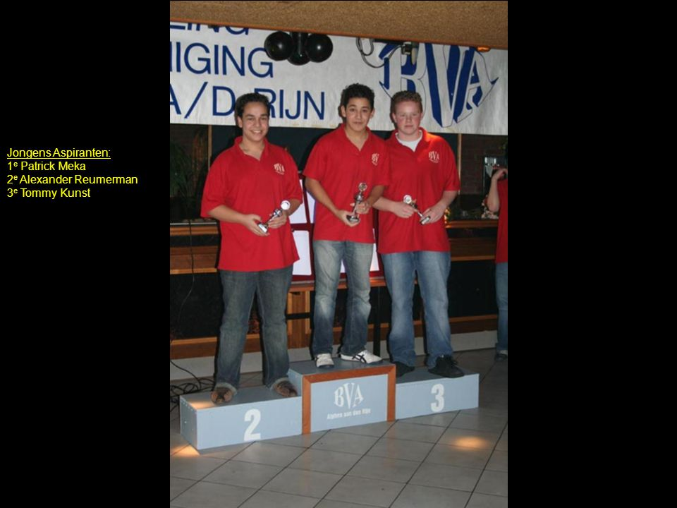Jongens Aspiranten: 1e Patrick Meka 2e Alexander Reumerman 3e Tommy Kunst