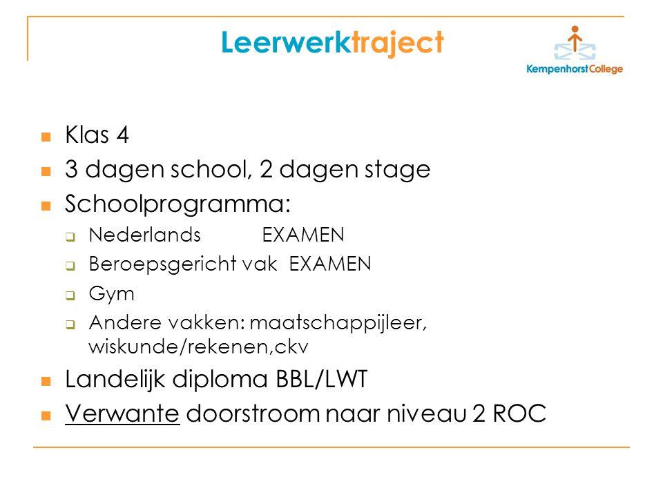 Leerwerktraject Klas 4 3 dagen school, 2 dagen stage Schoolprogramma: