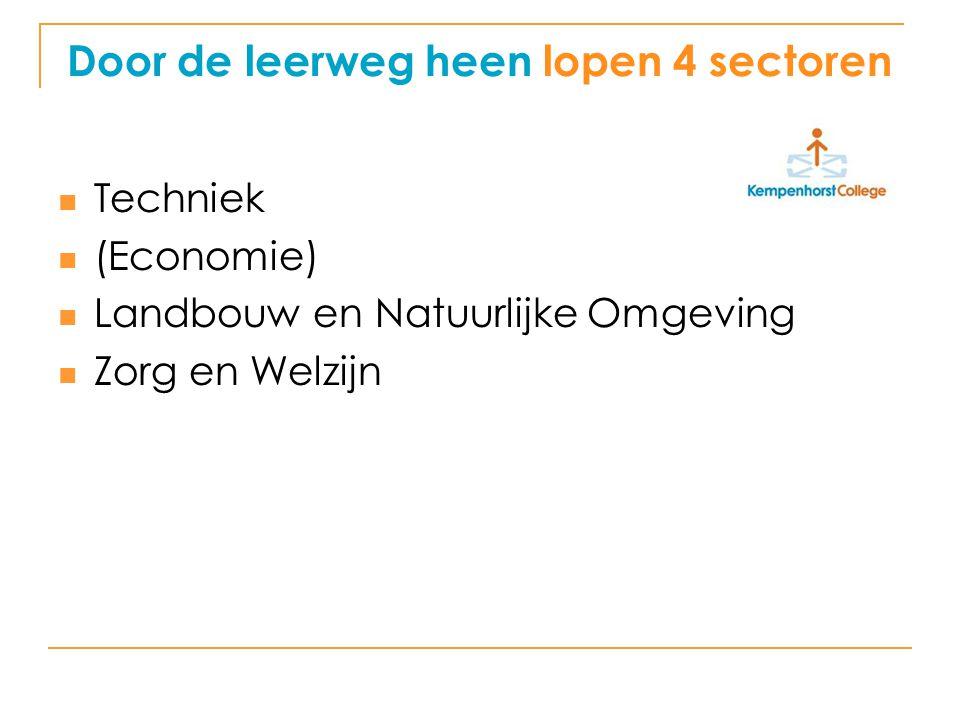 Door de leerweg heen lopen 4 sectoren
