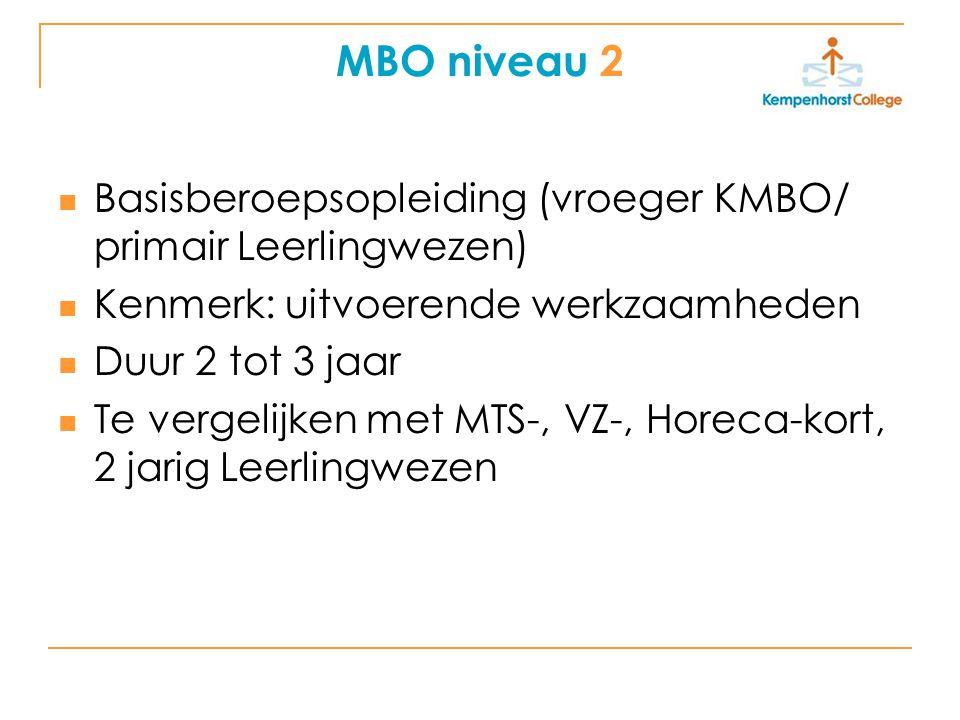MBO niveau 2 Basisberoepsopleiding (vroeger KMBO/ primair Leerlingwezen) Kenmerk: uitvoerende werkzaamheden.