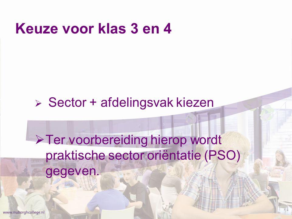 Keuze voor klas 3 en 4 Sector + afdelingsvak kiezen.