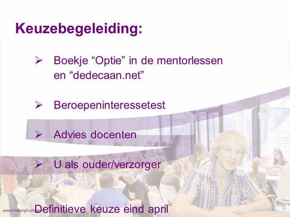 Keuzebegeleiding: Boekje Optie in de mentorlessen en dedecaan.net