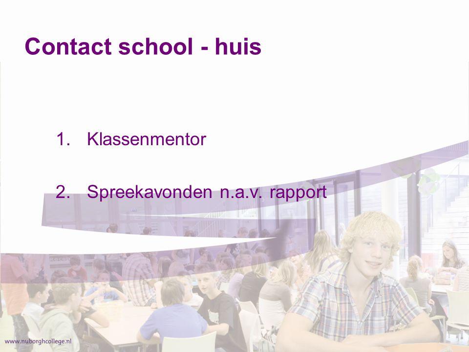 Contact school - huis Klassenmentor Spreekavonden n.a.v. rapport