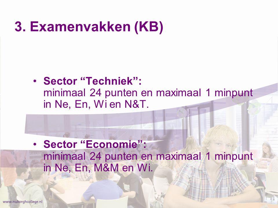3. Examenvakken (KB) Sector Techniek : minimaal 24 punten en maximaal 1 minpunt in Ne, En, Wi en N&T.