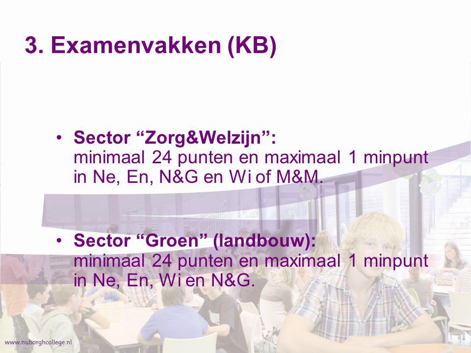 3. Examenvakken (KB) Sector Zorg&Welzijn : minimaal 24 punten en maximaal 1 minpunt in Ne, En, N&G en Wi of M&M.