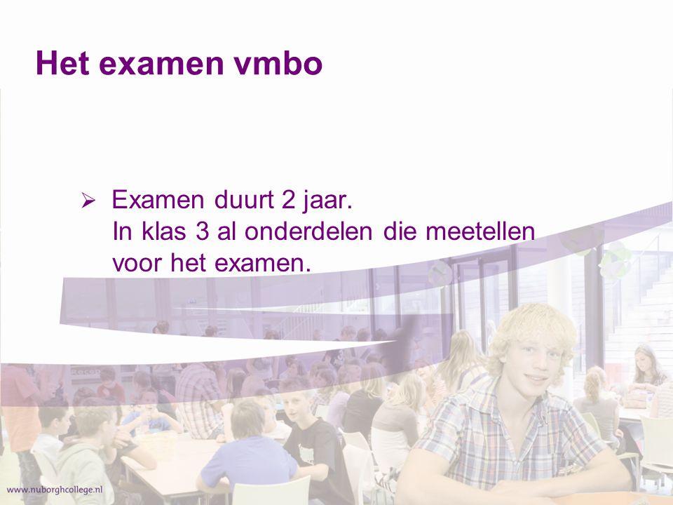 Het examen vmbo Examen duurt 2 jaar. In klas 3 al onderdelen die meetellen voor het examen.