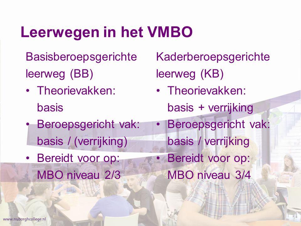 Leerwegen in het VMBO Basisberoepsgerichte leerweg (BB) Theorievakken: