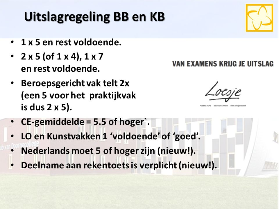 Uitslagregeling BB en KB