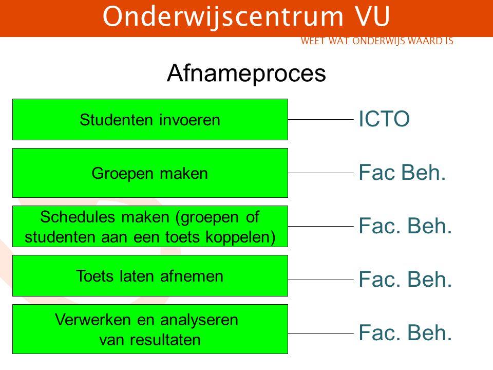 Afnameproces ICTO Fac Beh. Fac. Beh. Fac. Beh. Fac. Beh.