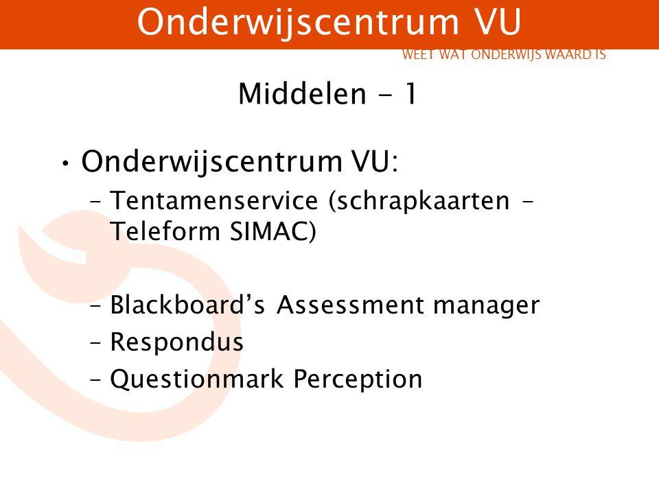 Middelen - 1 Onderwijscentrum VU: