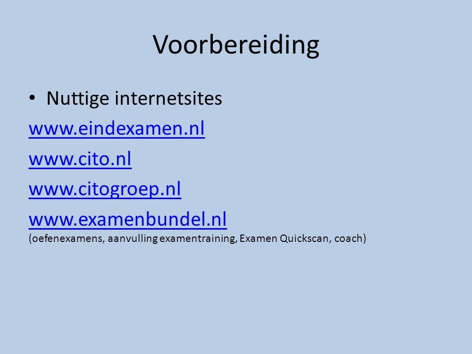 Voorbereiding Nuttige internetsites www.eindexamen.nl www.cito.nl