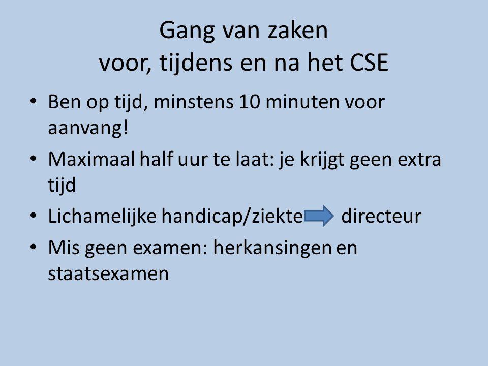 Gang van zaken voor, tijdens en na het CSE