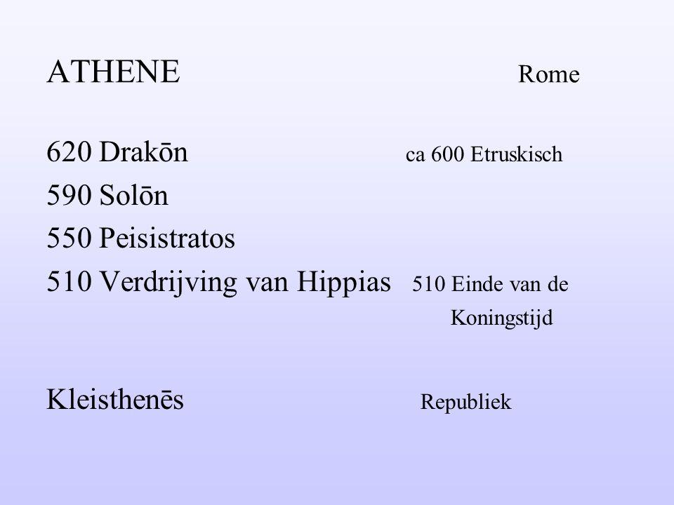 ATHENE Rome 620 Drakōn ca 600 Etruskisch 590 Solōn 550 Peisistratos
