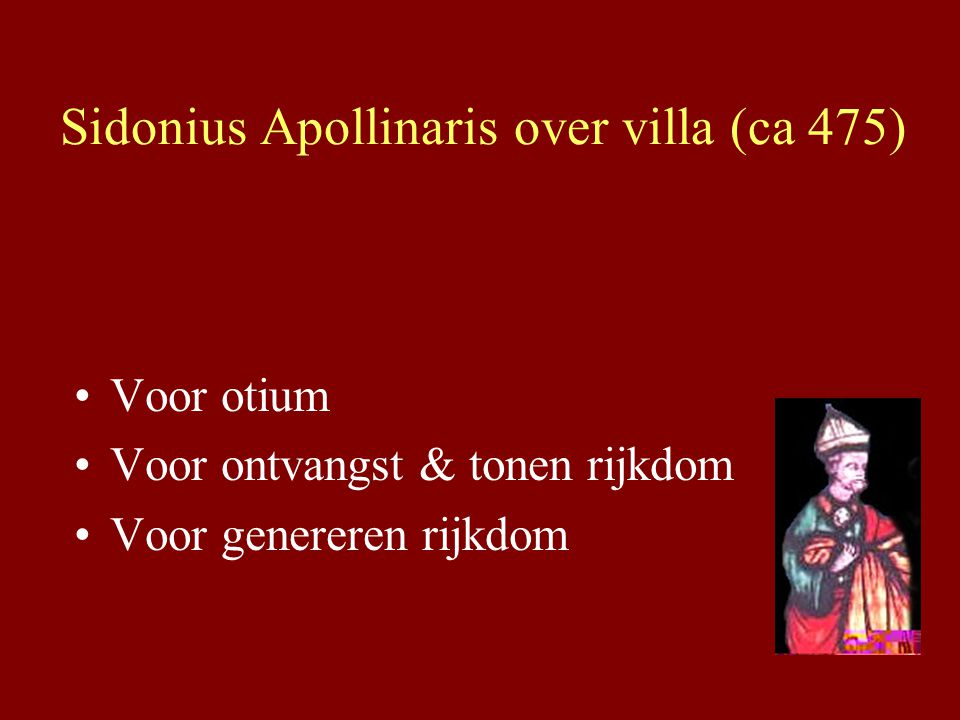 Sidonius Apollinaris over villa (ca 475)