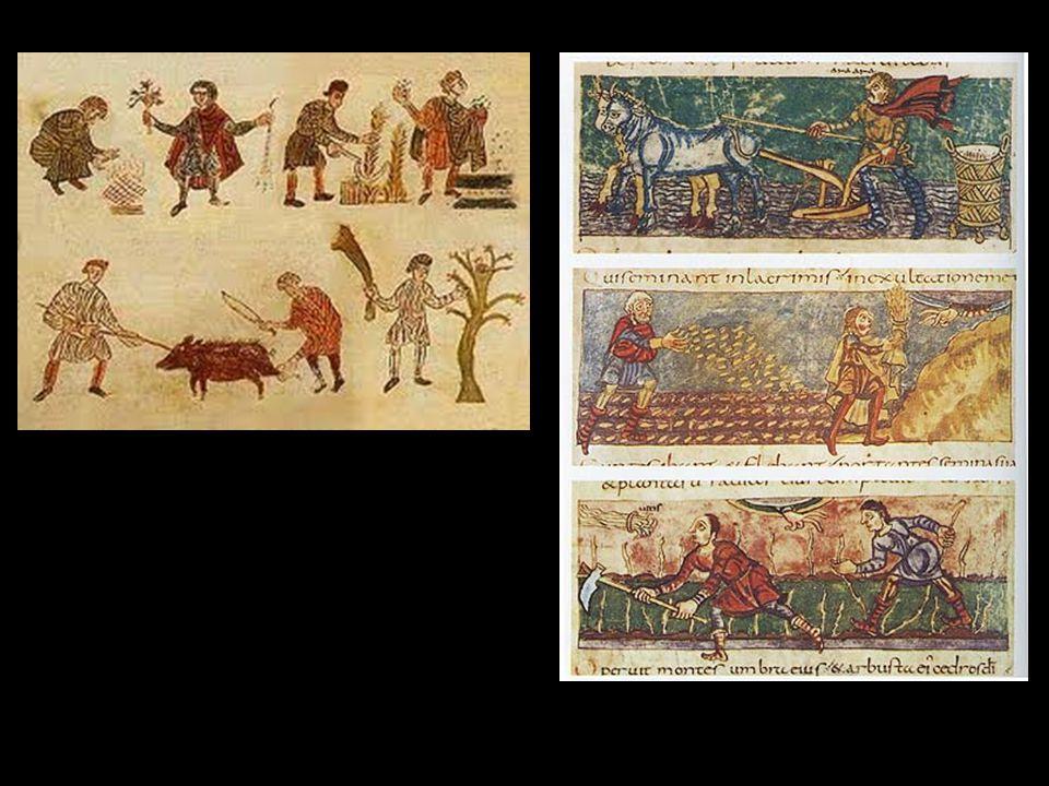 Linksboven: Salzburger Bilderhanschrift Capitlare de Villis