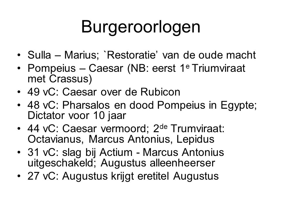 Burgeroorlogen Sulla – Marius; `Restoratie' van de oude macht