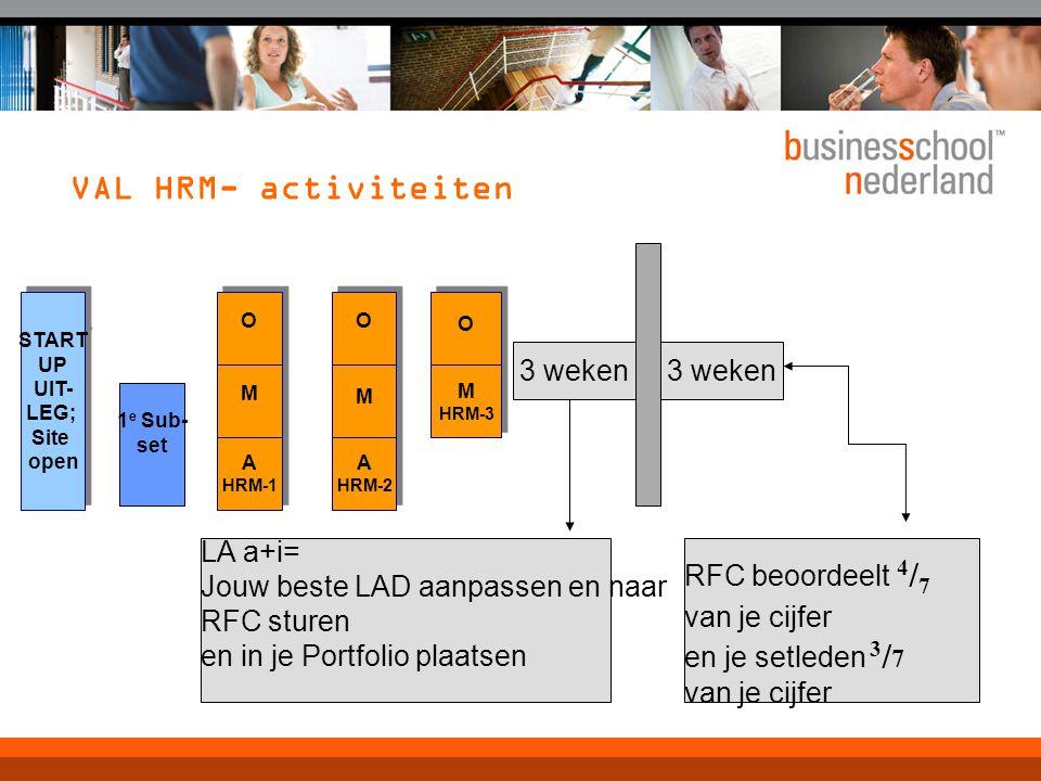 VAL HRM- activiteiten 3 weken 3 weken LA a+i=