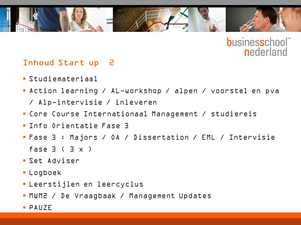 Inhoud Start up 2 Studiemateriaal