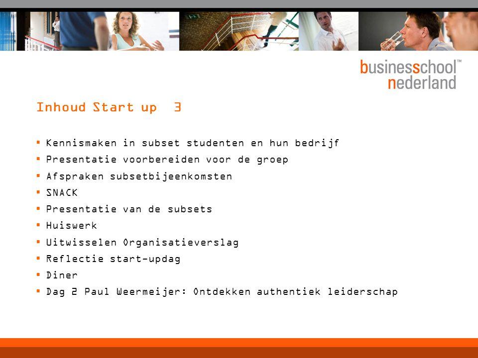 Inhoud Start up 3 Kennismaken in subset studenten en hun bedrijf