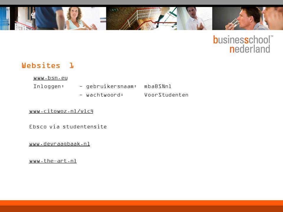 Websites 1 www.bsn.eu. Inloggen: - gebruikersnaam: mbaBSNnl - wachtwoord: VoorStudenten. www.citowoz.nl/vlc4.
