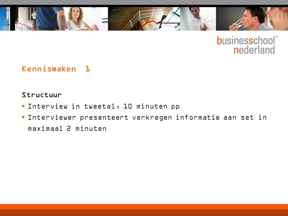 Kennismaken 1 Structuur Interview in tweetal, 10 minuten pp