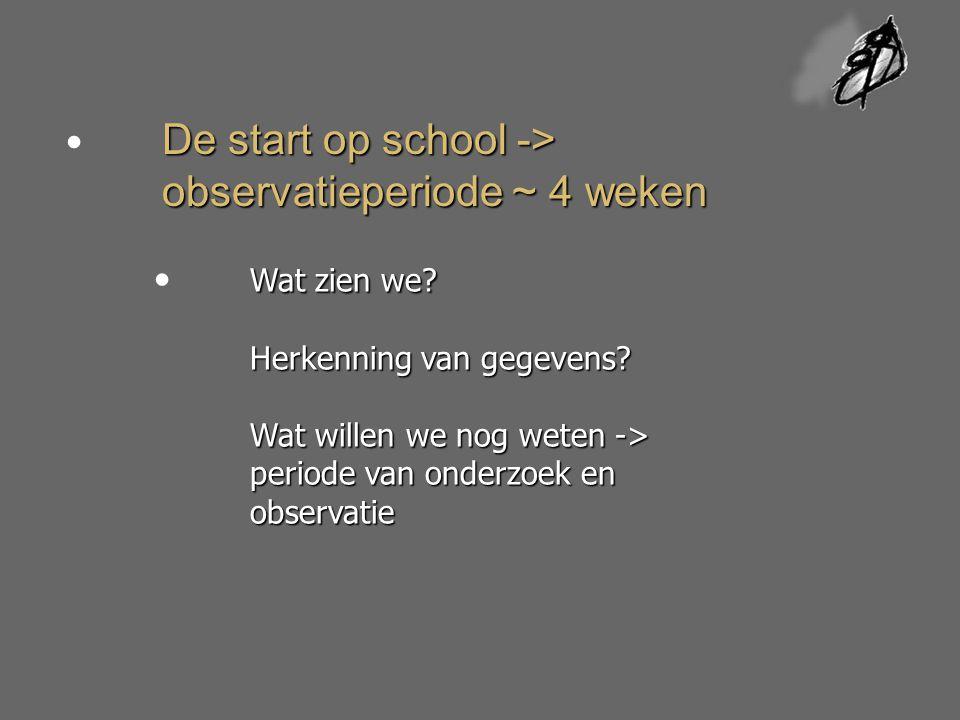 De start op school -> observatieperiode ~ 4 weken