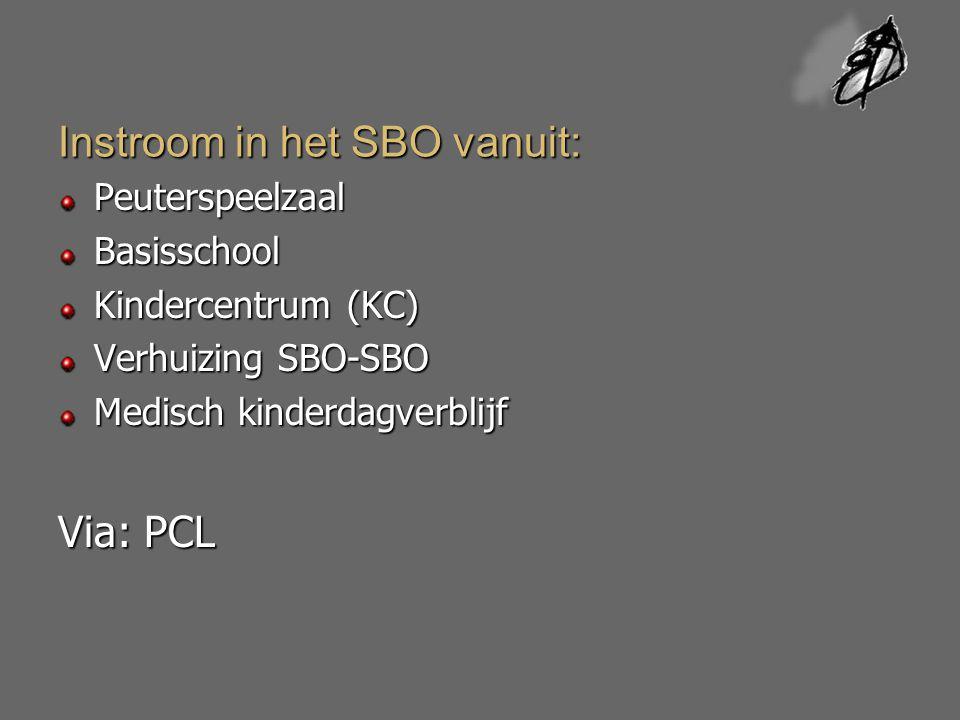 Instroom in het SBO vanuit: