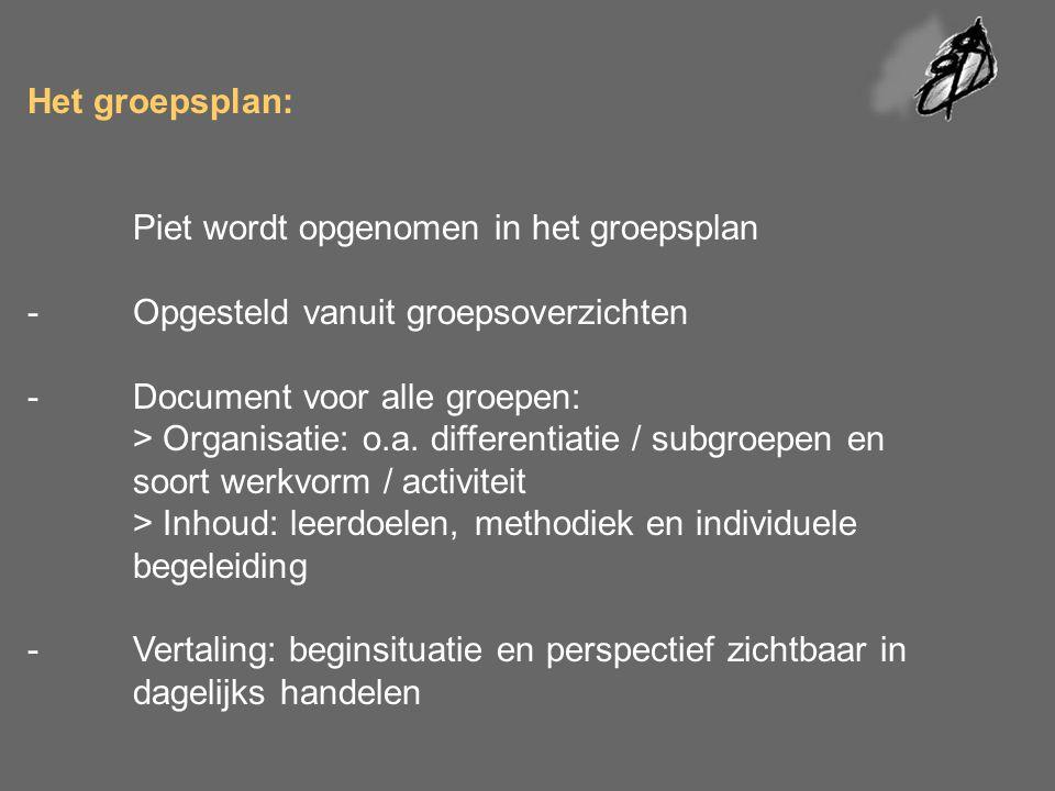 Het groepsplan:. Piet wordt opgenomen in het groepsplan -