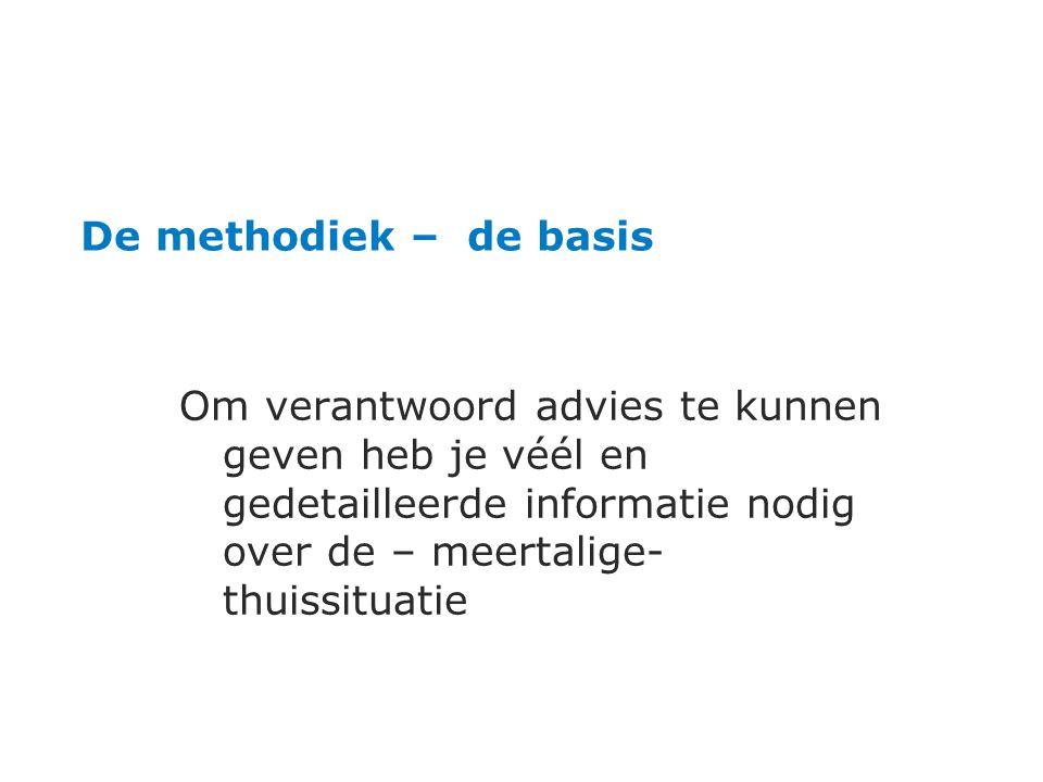 De methodiek – de basis Om verantwoord advies te kunnen geven heb je véél en gedetailleerde informatie nodig over de – meertalige- thuissituatie.