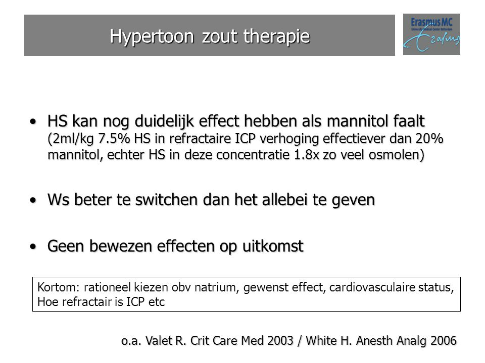 Hypertoon zout therapie