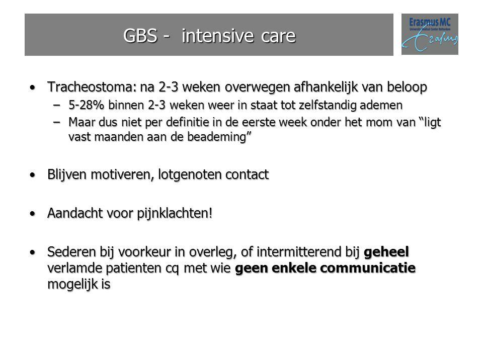 GBS - intensive care Tracheostoma: na 2-3 weken overwegen afhankelijk van beloop. 5-28% binnen 2-3 weken weer in staat tot zelfstandig ademen.