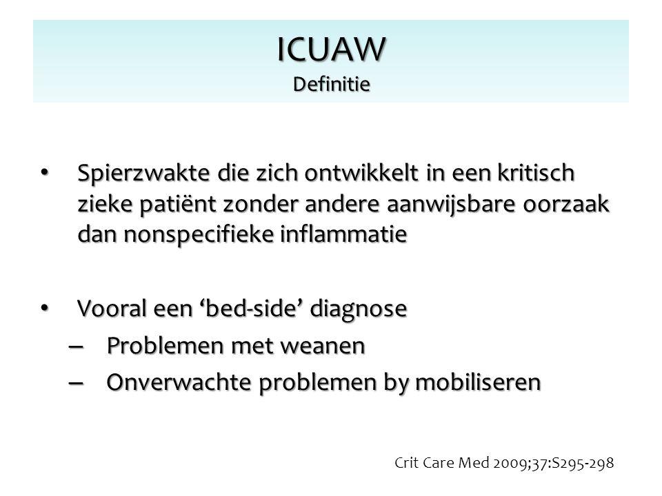 ICUAW Definitie Spierzwakte die zich ontwikkelt in een kritisch zieke patiënt zonder andere aanwijsbare oorzaak dan nonspecifieke inflammatie.