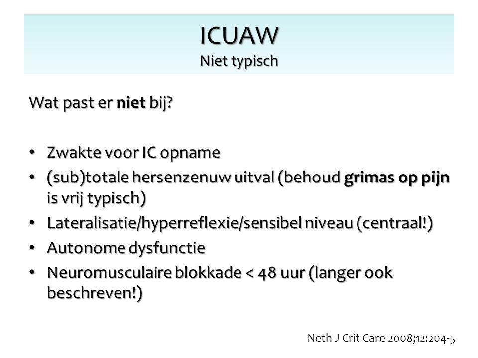 ICUAW Niet typisch Wat past er niet bij Zwakte voor IC opname