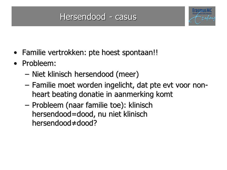 Hersendood - casus Familie vertrokken: pte hoest spontaan!! Probleem: