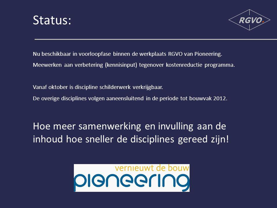 Status: RGVO+ Nu beschikbaar in voorloopfase binnen de werkplaats RGVO van Pioneering.