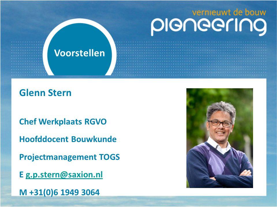 Voorstellen Glenn Stern Chef Werkplaats RGVO Hoofddocent Bouwkunde